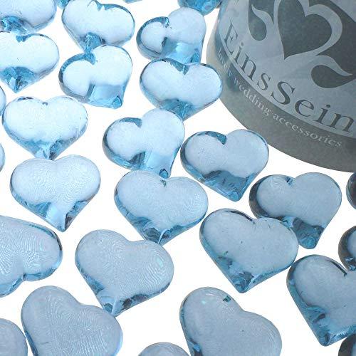EinsSein 30x Strooi Kristallen Tafel Harten Hartform bruiloft Acryl 22mm lichtblauw rood glazen steentjes vorm van een hartje tafels decoratie vaasjes tafelconfetti tafeldecoratie decoratie dopen