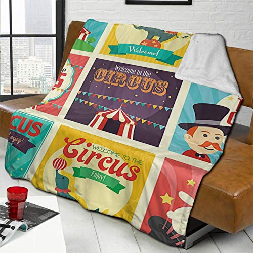 L-shop Circus Decor Collection of Old Circus Icons Carnival Magicians Old Fashioned Nostalgic Festive Artsy Print Multi Personalized Fashion Lamb Blanket