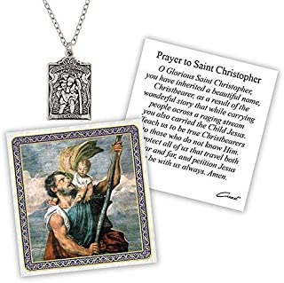 Silver Toned St. Christopher Patron Saint of Travelers Devotional Pendant with Prayer Card, 2 Inch