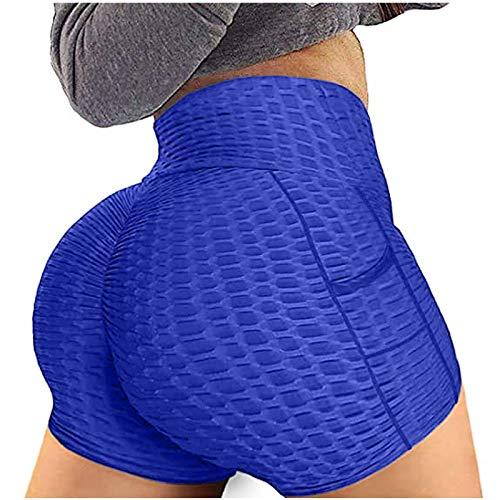Junjie Sexy Leggins Mujer Push Up Yoga Cortos Panal Arrugado Cintura Alta Mallas de Deporte de Mujer Elásticos Transpirables Fitness
