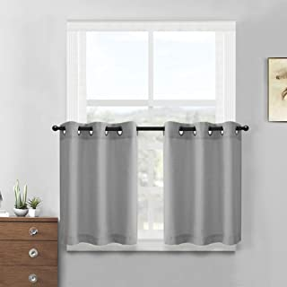 Grey Kitchen Tiers Curtains for Bathroom Semi Sheer Curtains Casual Weave Textured Privacy Half Window Curtain Panels 2 Pcs 36 Inch Length