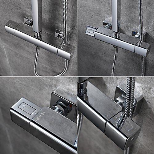 Homelody – Thermostat-Duschsystem mit Brausegarnitur, Regenbrause, eckig, Chrom - 5