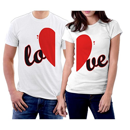 Couples Matching Shirts for him and her Completing Heart & LO-VE Couple T-Shirts Boyfriend Girlfriend Lovers Married White