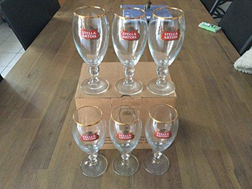 Stella Artois - Juego de 6 vasos de cerveza (25 cl), diseño de borde dorado