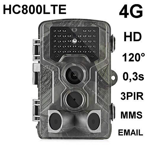 HC-800LTE 4G Wildkamera 16MP Full HD 42 Black LED 0,3 Sek Trigger 120° Fotofalle Überwachungskamera Jagdkamera GSM MMS SMTP SMS Jagd Wild Kamera Hunting Trail Camera Suntek 4G 3G 2G LTE