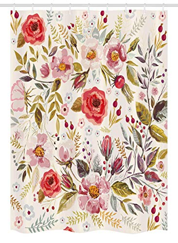 """Ambesonne Vintage Stall Shower Curtain, Floral Theme Hand Drawn Romantic Flowers and Leaves Illustration, Fabric Bathroom Decor Set with Hooks, 54"""" X 78"""", Pink Cream"""