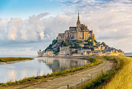 YYTTLL Rompecabezas de madera de 1000 piezas, rompecabezas de paisaje, muy desafiante adulto y adolescente casual - Mont Saint-Michel