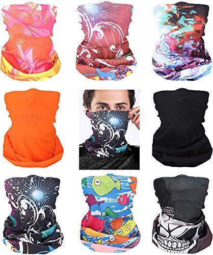 Luxina 8-9PCS Multifunktionstuch Halstuch herren Damen Kopfbedeckungen Bandana Schal Elastischer Halstücher UV Residenz Kopftuch Halstuch Gamasche Sturmhaube Motorrad für Yoga Laufen Wandern Radfahren