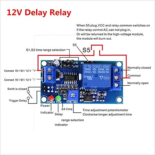 CCJW Electronics 1pcs Delay Relay Delay Turn On/Delay Turn off Switch Module with Timer DC 12V