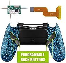 eXtremeRate Dawn Programable Remap Kit PS4 Scuf Reasignación de Botones para Playstaion 4 con Mod Chip&Carcasa Trasera&4 Botones Traseros Compatible con PS4 JDM 040/050/055(Salpicaduras Azules)