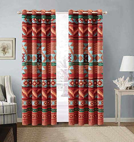 Rustic Western Southwest Native American Window Treatment Grommet Curtain Set in Beige Brown Turquoise Blue Orange Burgundy and Red Colors - Austin Brown Curtains Microfiber