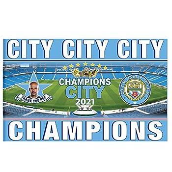 Man City Giant Manchester City 2021 Premier League Soccer Champions Flag  5ft x 3ft