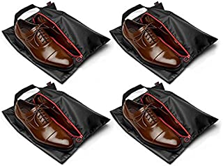 "Tuff Guy Travel Shoe Bags 16""x12"", Made of Strong Water Proof Ballistic Nylon (Black) (4-Pack) Nylon Shoe Tote Bags with Heavy Duty Zipper. Men and Women."