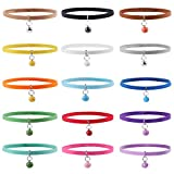 Whaline 15pcs Double Side Soft Plush Puppy ID Collars with Bells for Dog and Cat