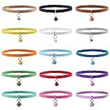 Whaline - Collares de 15 Colores para Cachorros de Hielo, Ajustables, Reutilizables, de Doble Cara, de Felpa Suave, para Mascotas, Perros, Gatos, con Campanas