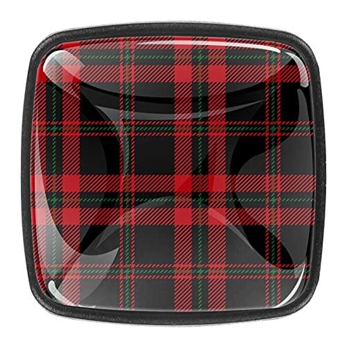 Pomos escoceses a cuadros negros y rojos para gabinetes de cocina de 1.18 pulgadas, tiradores de cajón de cristal transparentes para cocina, (4 unidades)