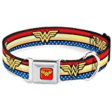 Dog Collar Seatbelt Buckle Wonder Woman Logo Stripe Stars Red Gold Blue White 11 to 17 Inches 1.0 Inch Wide