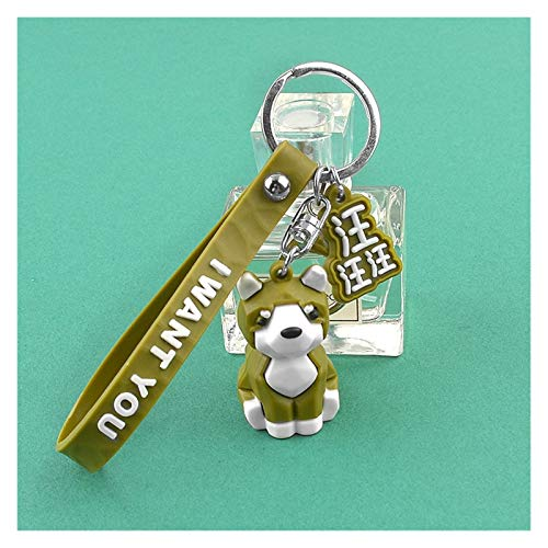 Djujiabh Keychain Cute Silicone PVC Dog Pendant Key Chain Figure Doll Toys Key Ring Holder Shiba Inu Husky Pet Keychains Women Girl Gift (Color : Green)