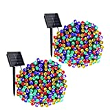 YLL 8 Modi Solar Lichte Außen,17M 100 LEDs Wasserdicht Außen Lichterkette,Für Garten, Balkon, Pavillon, Terrasse, Rasen, Zaun, Hochzeit Deko [Energieklasse A++] 2 Pack