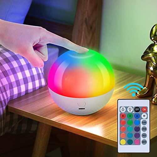 LED Nachttischlampe, Dimmbar Bunt Atmosphäre Tischlampe, Touch Nachtlicht mit Fernbedienung, 16 Farben und 4 Modi, USB-Aufladung Tragbare LED Friendship Lamp Stimmungslicht für Schlafzimmer Wohnzimmer