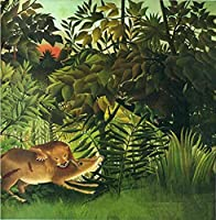 大人のための数字で描く子供たちアンリルソー獲物をむさぼり食うライオンDIY数字で描くデジタル油絵キットキャンバス 40×50cm