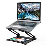 Adjustable Laptop Stand, Aluminum Computer Riser, Ergonomic Portable Laptops Elevate Stand for Desk, Multi-Angle with Heat-Vent Height Holder Compatible with 10-17