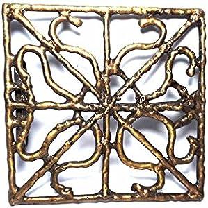 artigianale Hebilla para cinturón de 4 cm, cuadrada, 10 x 10 cm, color bronce, hebillas de metal o piedras o estrás o esmaltes o cristales muranos y 1 llavero BSS cc2