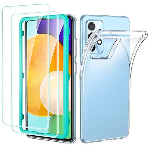 ESR Set di Cover Trasparente Compatibile con Samsung Galaxy A52, Include 2 Pellicole Protettive per Lo Schermo in Vetro Temperato, Custodia Morbida Trasparente, Serie Project Zero