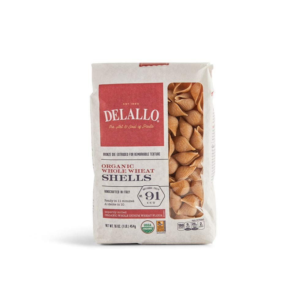 DeLallo List price Organic Whole-Wheat Shells Pasta lb. Pack 16 of 1 NEW before selling ☆