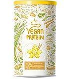 Vegan Protein | VANILLE | Kraftvoll und rein pflanzliches Proteinpulver mit Reis-, Soja-, Erbsen-, Chia-, Sonnenblumen- und Kürbiskernprotein | Ohne künstliche Süßstoffe und Aromen | 1200 Gramm Pulver
