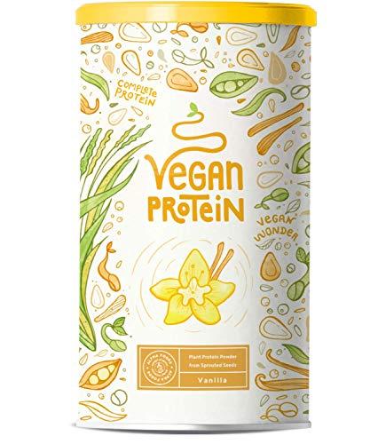 Proteína vegana | VAINILLA | Proteína vegetal de arroz, guisantes, semillas de lino, amaranto, semillas de girasol y semillas de calabaza germinadas | 1200g de polvo