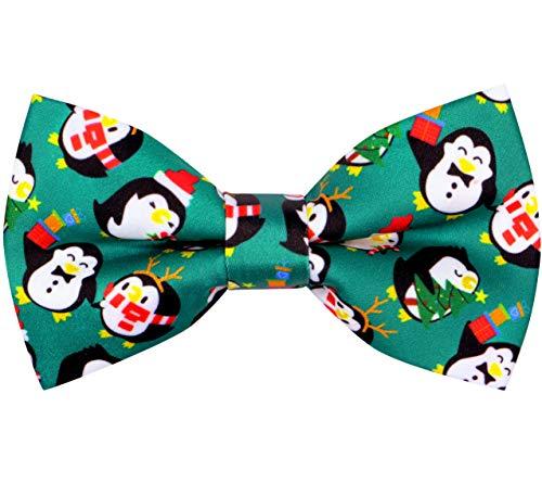 OCIA Holiday Halloween Christmas Pre-Tied Bow Tie Festival Pattern Bowtie for Mens & Boys Penguin