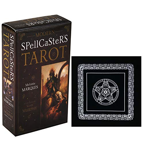 Moderne Hexer der Tarot-Karten mit schwarzem Plüsch Altar Tabellen-Tuch, Pentagram Retro Tarot-Tuch-Tabellen-Karte Brettspiele-Party-Spielkarten Familienspielen