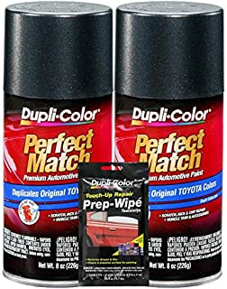 Dupli-Color Magnetic Gray Exact-Match Automotive Paint for Toyota Vehicles - 8 oz, Bundles Prep Wipe (3 Items)