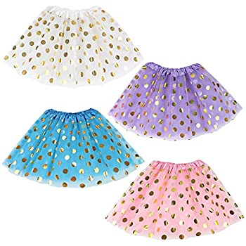 Koogel 4 PCS Tutu for 2 to 5 Years Old Girls 2-Layer Dress Up Tutu Polka Dot Assorted Colors Tutu Skirts Ballet Skirts for Dress Up Game Birthday Party Halloween Costume