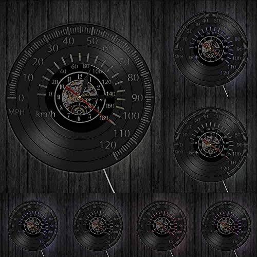 XYVXJ Tacómetro Retro Racer Reloj de Pared Velocímetro Reloj de Pared de Vinilo Reloj de Pared de Carreras Reloj de Carreras de Motocicletas Reloj de Conductor Regalo Luces LED