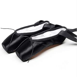 CNMF balletschoenen met kant voor klassieke dans, met satijnen linten en teenbescherming voor ballerina's, dames en meisje...