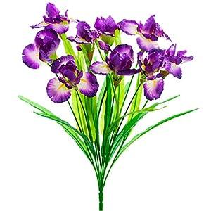 "Silk Flower Arrangements 22"" Iris Silk Flower Bush -Purple/Blue (Pack of 12)"