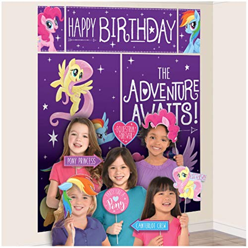 amscan My Little Pony Scene Setter with Photo Props- 17 pcs.