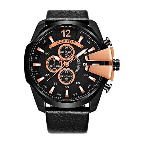 XIAOJIAN Exquisito Reloj de Bolsillo: Reloj de cronógrafo para Hombres, Estudiante de niño Calendario de Cuero Impermeable Multifunción Multifunción Código de modalidad: LXJ - 327 (Color : D)