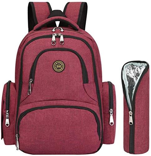 Dewmpp Mochila para pañales para bebé, mochila para pañales de viaje multifunción de gran capacidad, bolsillo antirrobo, cambiador portátil-Vino rojo