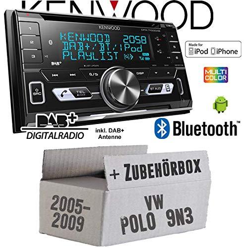 Autoradio Radio Kenwood DPX-7100DAB - 2DIN Bluetooth DAB+ Digitalradio USB CD MP3 Einbauzubehör - Einbauset für VW Polo 9N3 - JUST SOUND best choice for caraudio