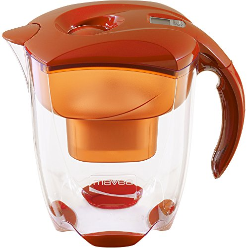 MAVEA 1005772 Elemaris XL 9-Cup Water Filtration Pitcher, Tangerine by Mavea