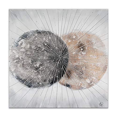 ADM Sfere Astratte Quadro, Dipinto a Mano Astratto su Tela con Decorazioni in Rilievo e Montato su Telaio estetico Alto AS447X1