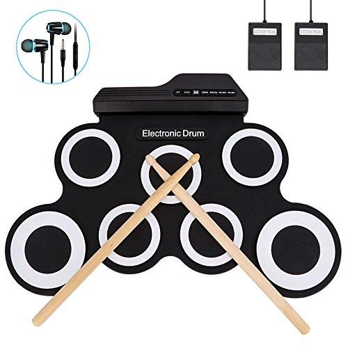 Jacksoo Portable Roll Up Drum, Electronic Digital Drum Pad Kit Musical Practice...