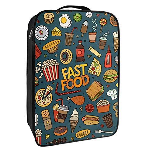 Schuh-Aufbewahrungsbox für Reisen und den täglichen Gebrauch, leckere Fast-Food-Schuhtasche, Organizer, tragbar, wasserdicht bis zu 12 Meter, mit doppeltem Reißverschluss und 4 Taschen.
