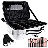 OEWOER Large Makeup Case PU Leather Makeup Bag 3 Layers Professional Makeup Train Case Cosmetic Bag Brush Organizer and Storage 16 Inches Travel Make Up Artist Box with Adjustable Strap Marble Pattern