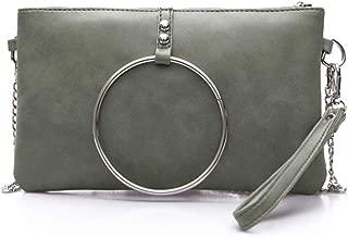 Nodykka Evening Clutch Shoulder Cross Body Bag PU Ring Party Daily Wristlet Handbags Purse