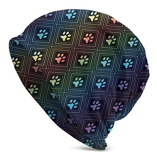 MZZhuBao Gorro de punto con estampado de huellas de perro con forma de diamante, para todas las estaciones unisex