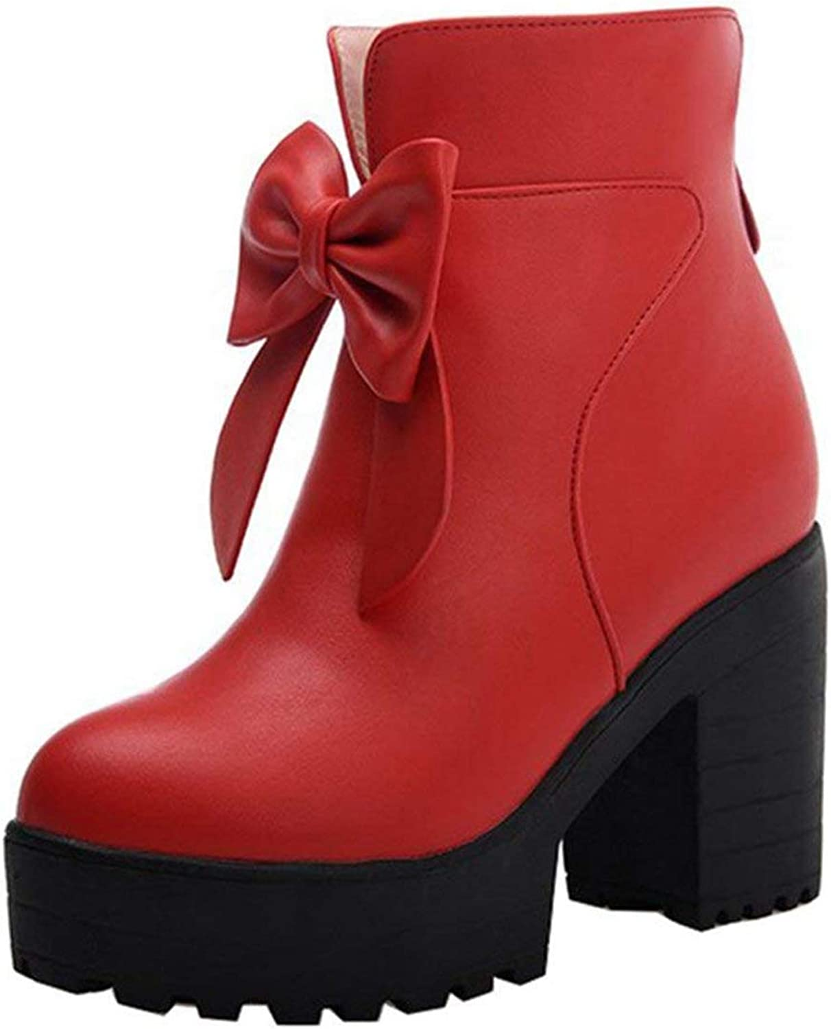 Vitalo Womens Chunky High Heel Platform Ankle Boots with Bow Zip Up Autumn Winter shoes